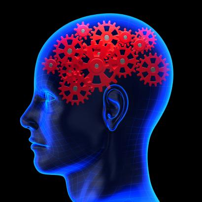 Brain with gears visible inside