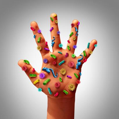 Germs on a hand
